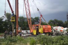 The Installation pilot tangential piles ⌀ 520mm (CFA). Site: Shopping and entertainment center. Orikhivske highway. Zaporizhia.
