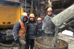 Reception of concrete into auger piles. Site: four pillar  press. Blast Furnace-3. Customer: PAT (public joint-stock company) Zaporizhstal.